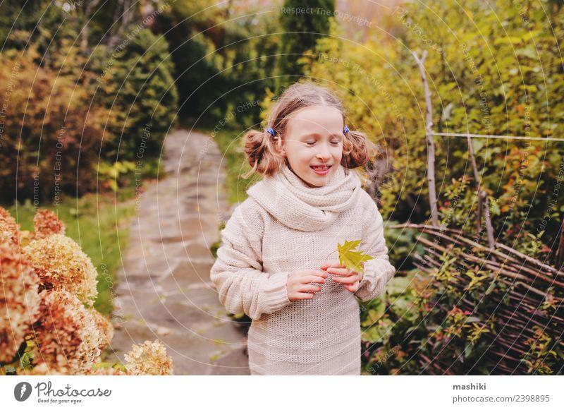 Kind Mädchen Spaziergang im Herbstgarten Lifestyle Freude Ferien & Urlaub & Reisen Garten Arbeit & Erwerbstätigkeit Natur Blume Blatt Wege & Pfade Pullover