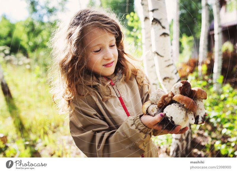 Kind Natur Ferien & Urlaub & Reisen Sommer Pflanze Baum Mädchen Wald Herbst Kindheit Lächeln genießen laufen 8-13 Jahre Jagd Pilz