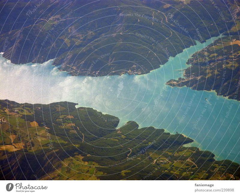wolkenspiegel Natur Landschaft Erde Luft Wasser Himmel Wolken Hügel Küste See fliegen frei Unendlichkeit hoch schön blau grün Idylle Farbfoto Luftaufnahme