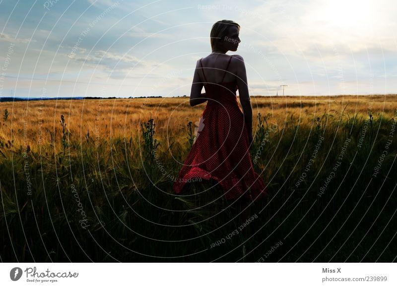 Sehnsucht schön Mensch feminin Junge Frau Jugendliche 1 18-30 Jahre Erwachsene Natur Landschaft Himmel Schönes Wetter Gras Sträucher Feld Kleid Stimmung
