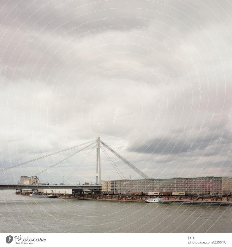 rheinbrücke Himmel Stadt Haus Architektur Gebäude Brücke trist Fluss Fabrik Bauwerk Schifffahrt Wolkenloser Himmel schlechtes Wetter Industrieanlage Rhein