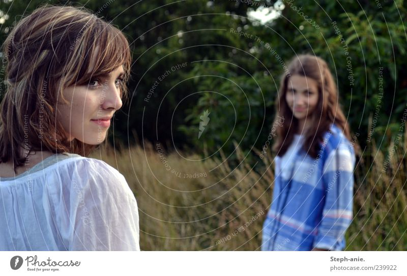 Summerblues. Mensch Natur Jugendliche schön Sommer Junge Frau feminin Gras träumen Freundschaft Idylle Zukunft 13-18 Jahre beobachten geheimnisvoll