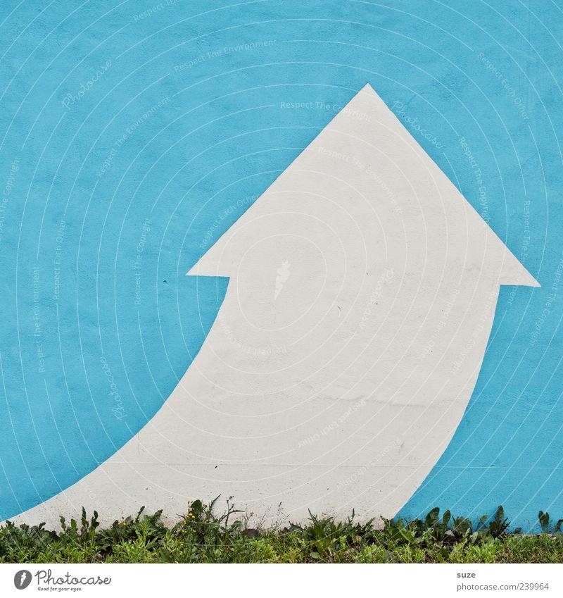 Himmelfahrt Stil Design Gras Zeichen Schilder & Markierungen Pfeil eckig einfach modern oben Spitze blau weiß Richtung hell-blau Wand Klarheit aufwärts positiv