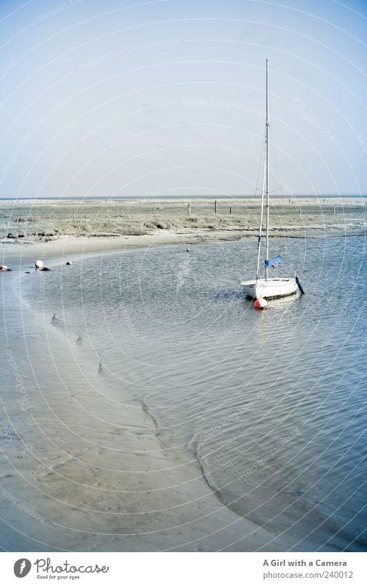 Spiekeroog l sail away with me Susanne Ferien & Urlaub & Reisen Ferne Freiheit Strand Meer Sand Wolkenloser Himmel Schönes Wetter Küste Nordsee hell Segelboot
