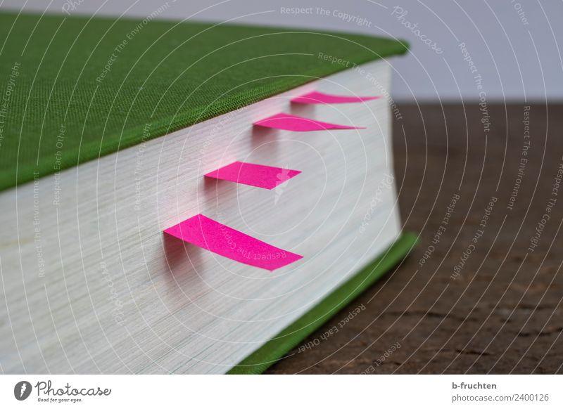 Lesezeichen, Markierungen Bildung Schule Studium Business Printmedien Papier Zettel rosa Buch ansammeln Anordnung lesen anmerken kennzeichnen Farbfoto