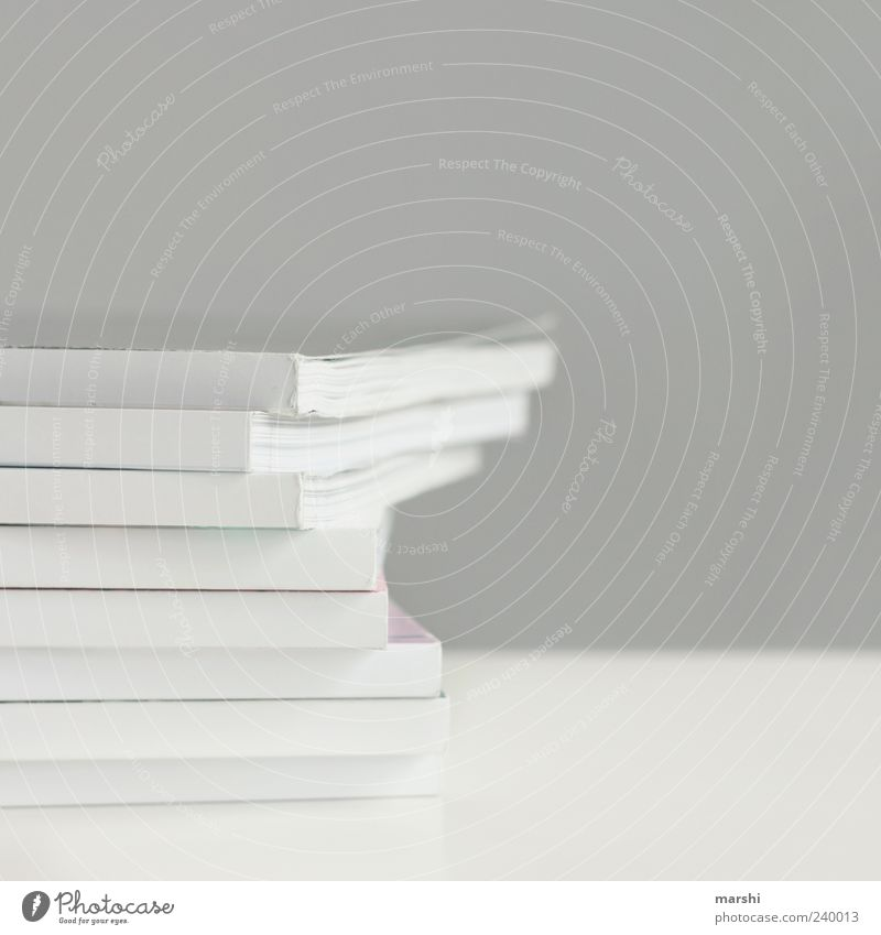 weise Lektüre grau weiß Printmedien einfach Stapel Papier Papierstapel Farbfoto Innenaufnahme Textfreiraum rechts Textfreiraum oben Freisteller