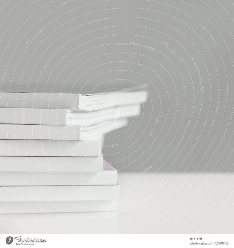 weise Lektüre weiß grau Papier viele einfach Stapel Printmedien Medien Heft aufeinander Papierstapel Vor hellem Hintergrund