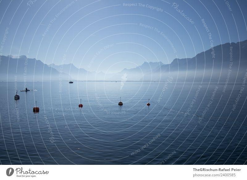Genfersee Umwelt Natur Landschaft blau grau schwarz See Genfer See Wasser Berge u. Gebirge Dunst Boje Himmel Farbfoto Außenaufnahme Menschenleer