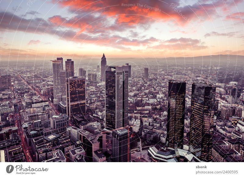 Frankfurt Abendrot Büro Business Frankfurt am Main Stadt Stadtzentrum Skyline Hochhaus Ferien & Urlaub & Reisen Großstadt Cityscape Panorama Architecture Bank