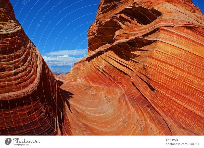 pure happiness Himmel Natur blau Ferien & Urlaub & Reisen schön rot Farbe Landschaft Felsen Tourismus einzigartig USA bizarr Fernweh Utah Arizona