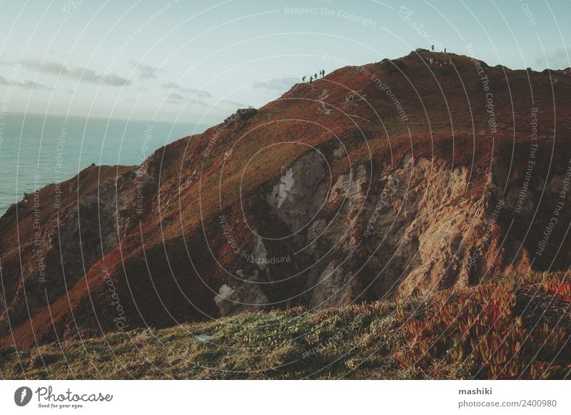 Entdecken Sie Portugal. Cabo da Roca Meer und Berge schön Ferien & Urlaub & Reisen Tourismus Ausflug Abenteuer Berge u. Gebirge Natur Landschaft Himmel Felsen