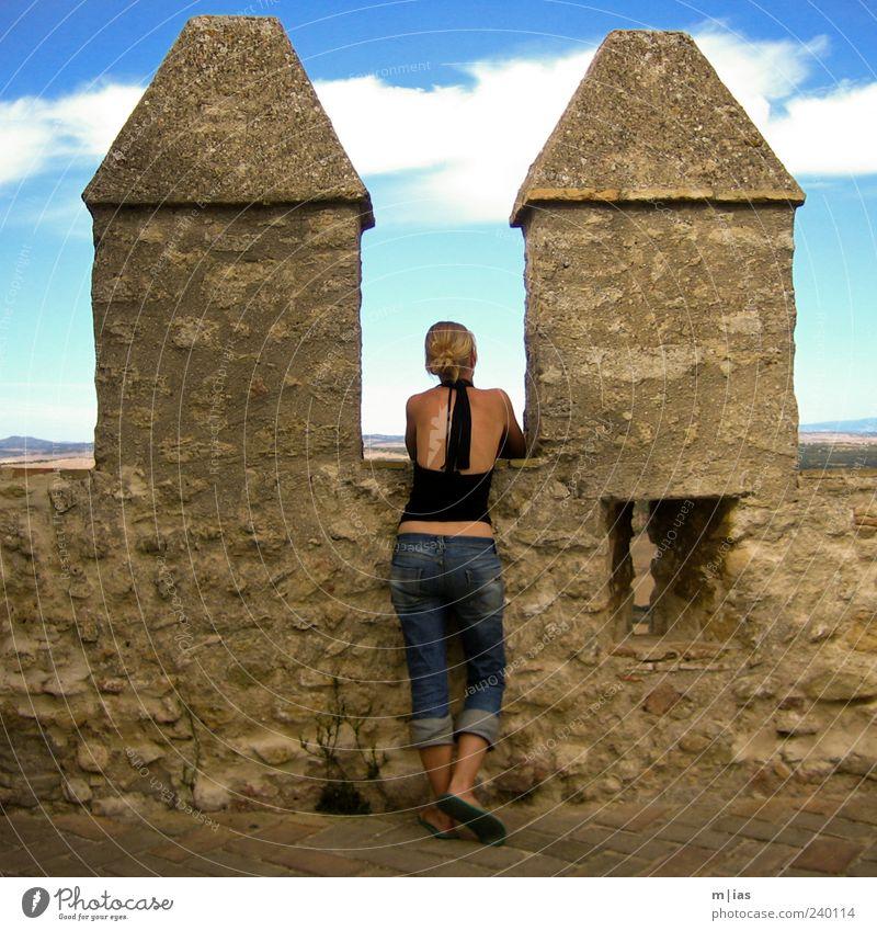 Verweile doch.. Frau Jugendliche Ferien & Urlaub & Reisen Erwachsene Ferne feminin Leben Horizont Stimmung Junge Frau blond Ausflug 18-30 Jahre Tourismus