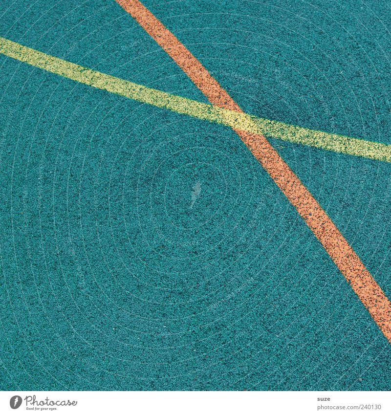 Verschenkter Sieg blau rot gelb Linie Freizeit & Hobby Ordnung Schilder & Markierungen Platz Bodenbelag Spielfeld Grenze graphisch Bogen Gummi kreuzen