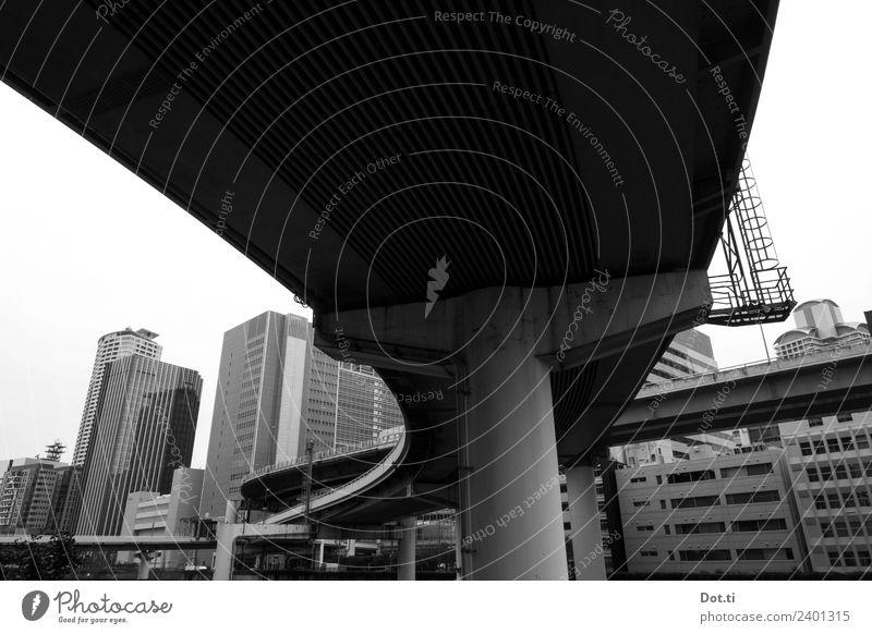 Yodo River Osaka Japan Asien Stadt Stadtzentrum Hochhaus Brücke Bauwerk Gebäude Architektur trist grau Endzeitstimmung Perspektive Beton Verkehrsführung