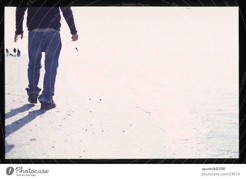 strandläufer Mann Wasser Strand leer schreiten