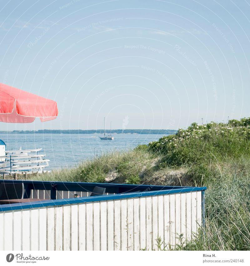 Like Ice in the Sunshine Himmel Wasser Ferien & Urlaub & Reisen Sommer Erholung Landschaft hell Horizont Freizeit & Hobby Lifestyle Geländer Ostsee Quadrat