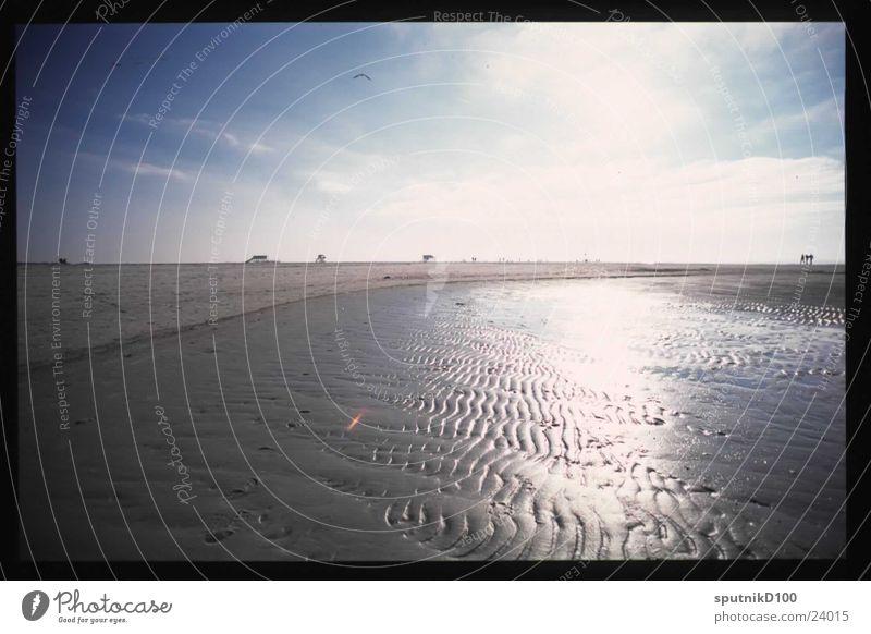 sankt peter Gegenlicht Strand Horizont Sonne Wattenmeer Himmel