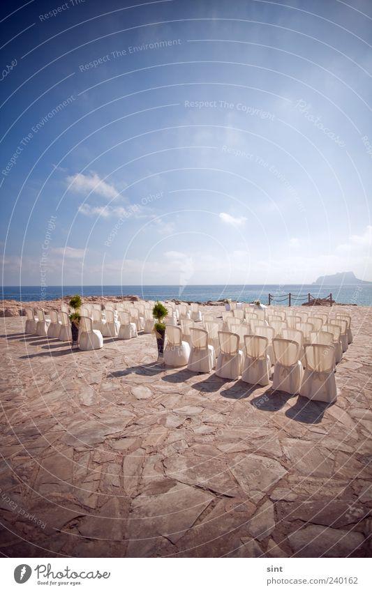 traumhochzeit weiß Sommer Meer Küste Stil Horizont elegant Schönes Wetter Stuhl Stuhlreihe