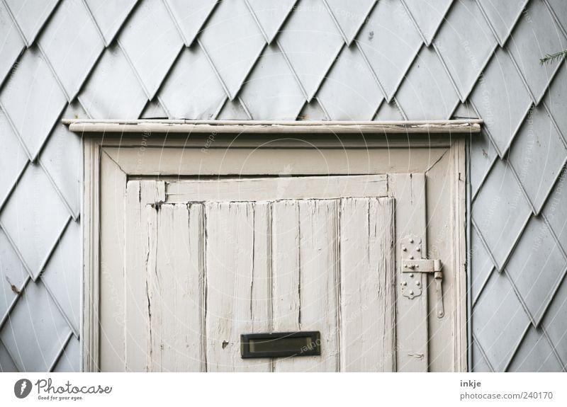 Hexenhaus Hütte Ruine Fassade Tür Briefkasten Scharnier Beschläge Holz hängen alt trist grau Stimmung Verfall Vergänglichkeit Häusliches Leben Gartenhaus