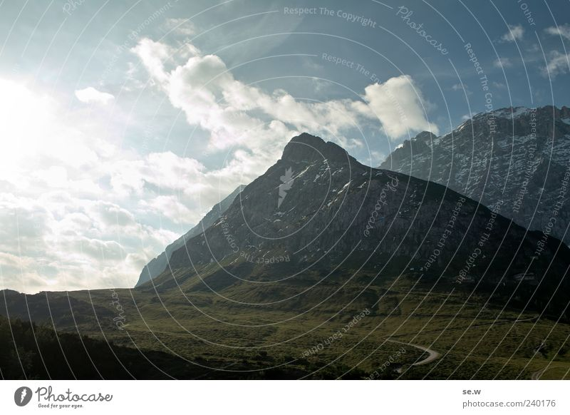 Morgenstund... Himmel Natur blau Ferien & Urlaub & Reisen grün Sonne Sommer Wolken ruhig Ferne Landschaft Berge u. Gebirge Wege & Pfade grau leuchten Alpen