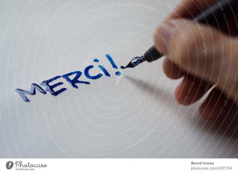 Merci! Finger schreiben authentisch Freundlichkeit hell Buchstaben danke schön Französisch Ausrufezeichen Kalligraphie nass frisch Zettel dankbar trocknen