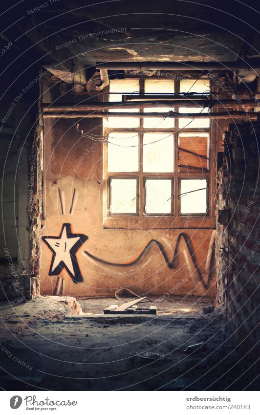 Folge deinem Stern Leben Menschenleer Industrieanlage Fabrik Lagerhalle Mauer Wand Fenster Graffiti Stern (Symbol) fliegen Hoffnung Rätsel Wunsch dunkel