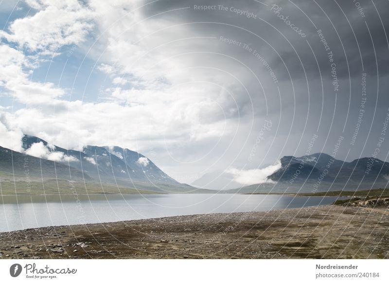 Planet Erde Ferne Freiheit Berge u. Gebirge Natur Landschaft Urelemente Himmel Wolken Gewitterwolken Klima Wetter See Wege & Pfade außergewöhnlich ästhetisch