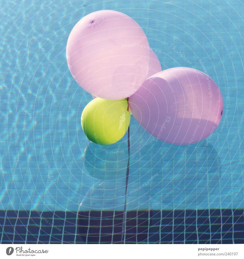 wasserlandung blau Wasser Ferien & Urlaub & Reisen Sommer gelb Spielen klein Schwimmen & Baden rosa Freizeit & Hobby groß mehrere Luftballon rund Schwimmbad Schönes Wetter
