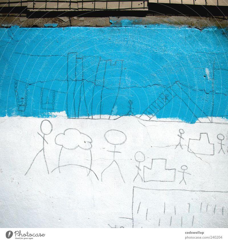 lowryesque blau weiß Freude Wand Spielen Mauer Kunst Kindheit Stadtleben Wolkenloser Himmel Spielplatz Straßenkunst Wandmalereien Kultur Farbe Strichmännchen