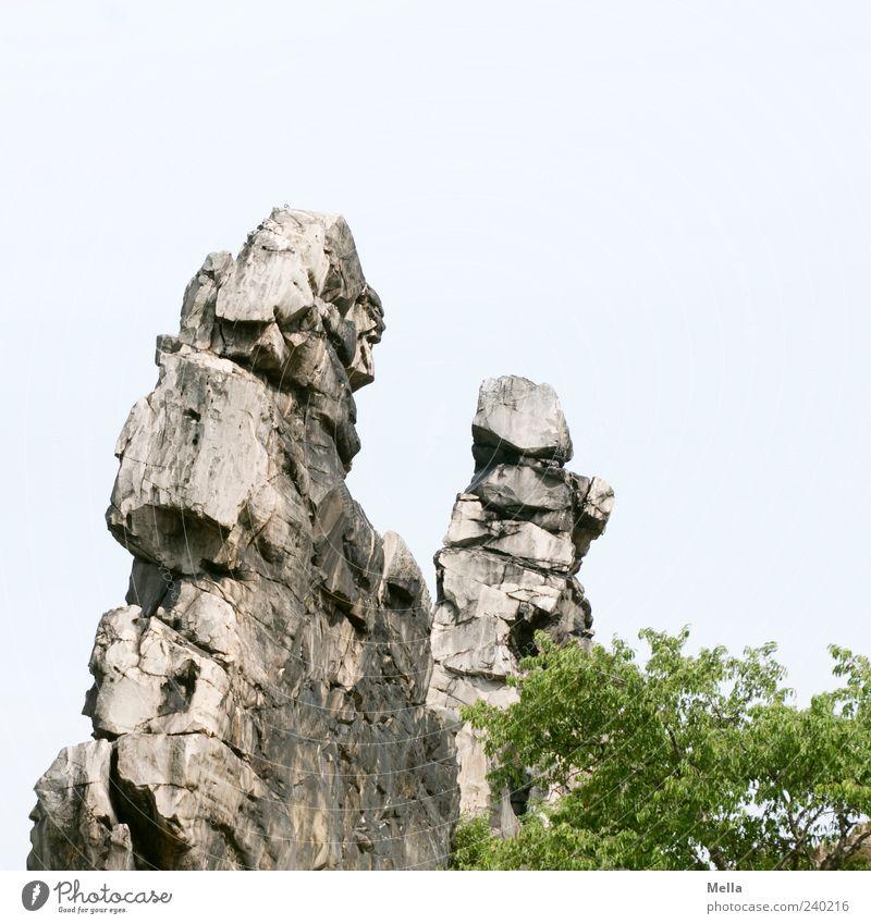 Steinbeißer-Duell Umwelt Natur Landschaft Felsen Berge u. Gebirge stehen eckig fest groß natürlich bizarr Harz gegenüber Farbfoto Außenaufnahme Menschenleer