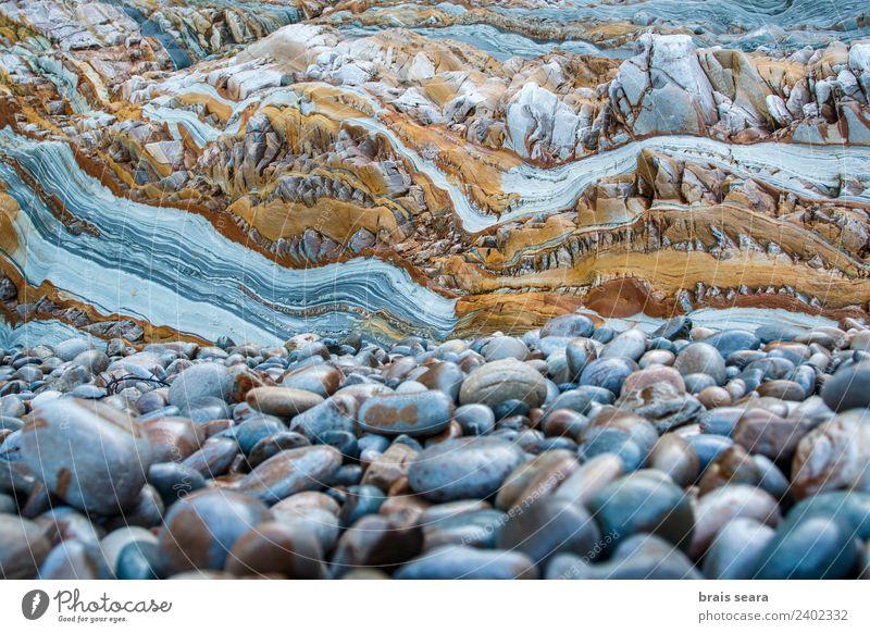 Sedimentäre Gesteinsstruktur Strand Meer Wissenschaften Erwachsenenbildung Geografie Geologie Geologen Beruf Umwelt Natur Erde Küste Stein natürlich blau gelb