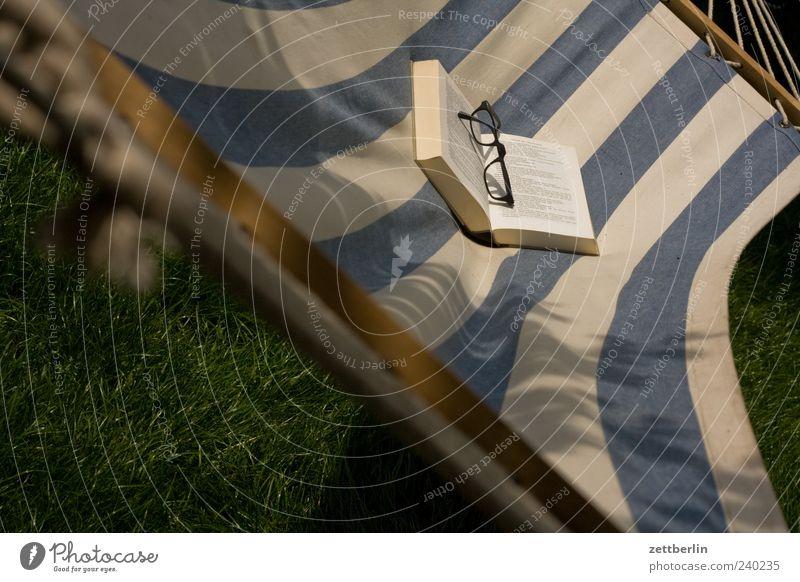 Lesen blau weiß Erholung Buch Streifen Brille gestreift Printmedien Spielen Hängematte schaukeln aufgeschlagen