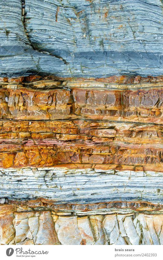 Sedimentäre Gesteinsstruktur Strand Meer Tapete Wissenschaften Geologie Beruf Geologen Umwelt Natur Erde Felsen Küste Stein gelb türkis Farbe Kunst Playa