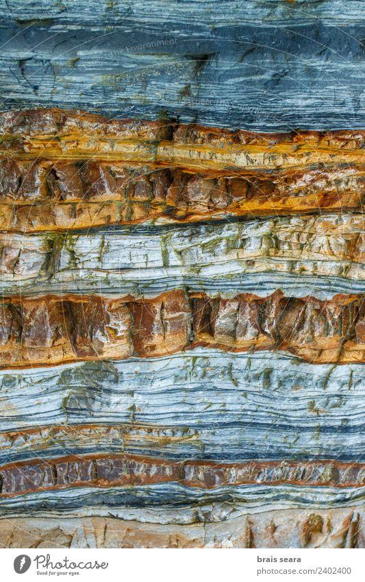 Sedimentäre Gesteinsstruktur Strand Meer Tapete Bildung Wissenschaften Geologie Beruf Geologen Umwelt Natur Erde Felsen Küste Stein blau gelb türkis Farbe Playa
