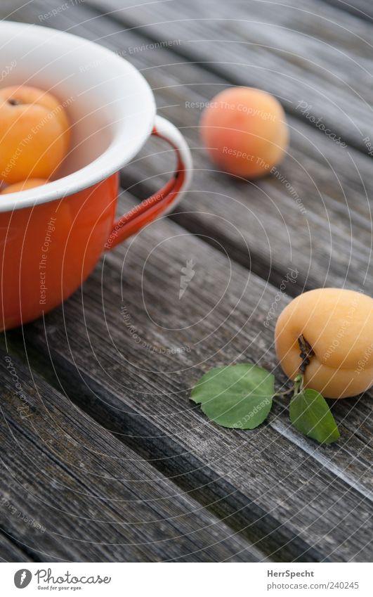 Marillen grün Holz orange Frucht liegen frisch ästhetisch reif Topf Schalen & Schüsseln Holztisch Steinfrüchte Aprikose