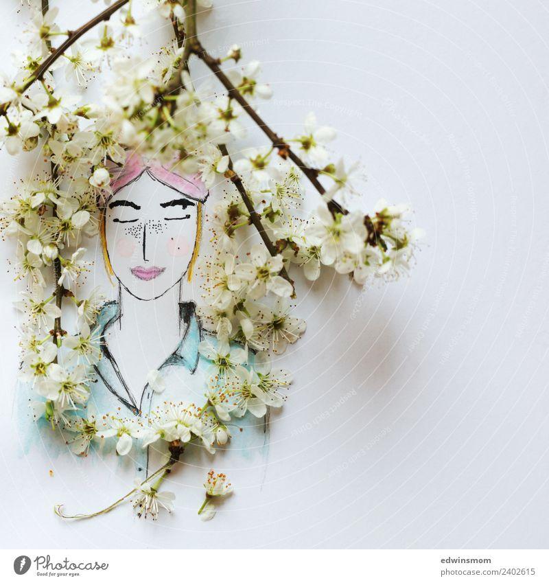 Hello spring Natur Jugendliche Junge Frau blau Pflanze schön weiß Erholung ruhig Frühling Blüte natürlich Gefühle feminin Holz rosa