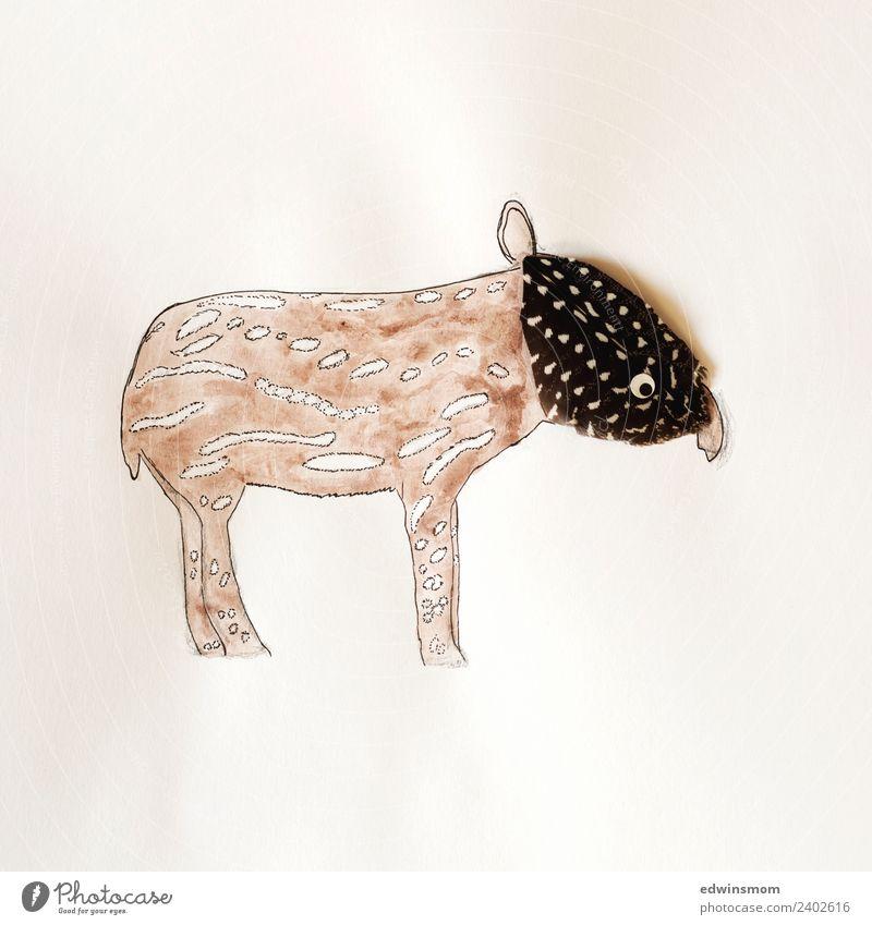 Little tapir Tier lustig klein grau braun Freizeit & Hobby Dekoration & Verzierung Wildtier stehen Kreativität Idee Papier weich zeichnen Inspiration Basteln