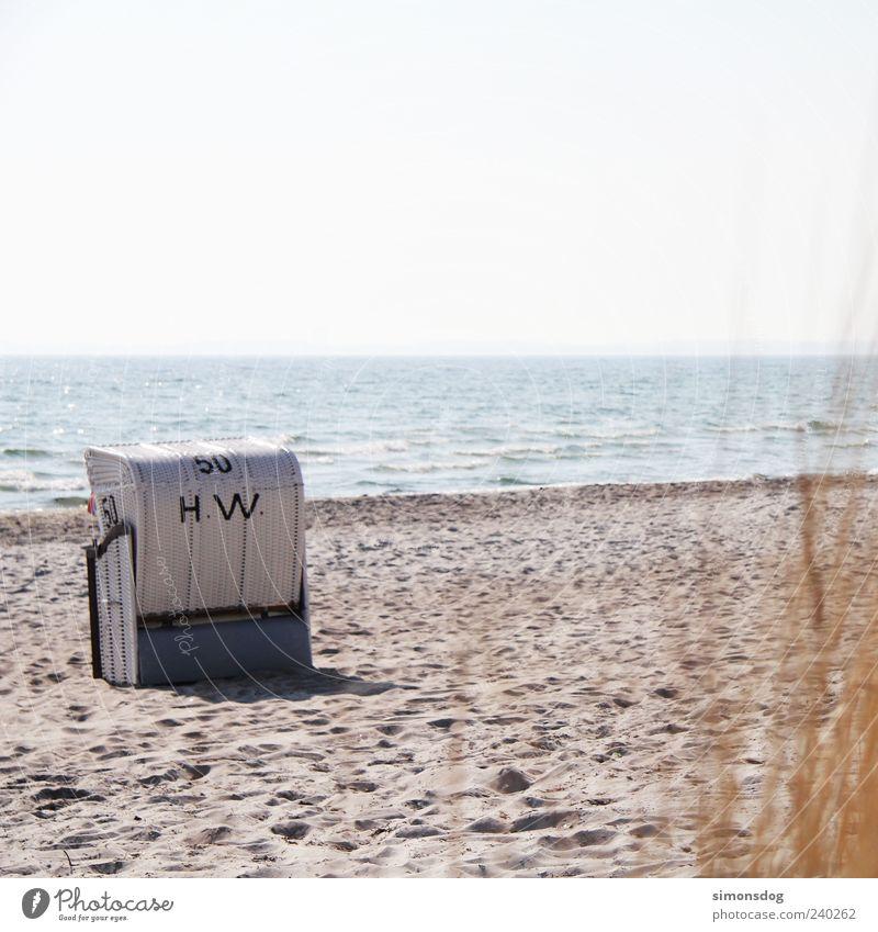 brise pause Landschaft Sand Wasser Himmel Horizont Sommer Schönes Wetter Strand Ostsee Meer Ferien & Urlaub & Reisen Ferne ruhig Fernweh Strandkorb