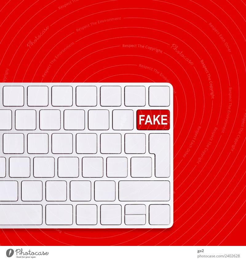 Fake weiß rot Schriftzeichen Kommunizieren Technik & Technologie Telekommunikation Computer gefährlich bedrohlich Sicherheit Zukunftsangst Internet Risiko