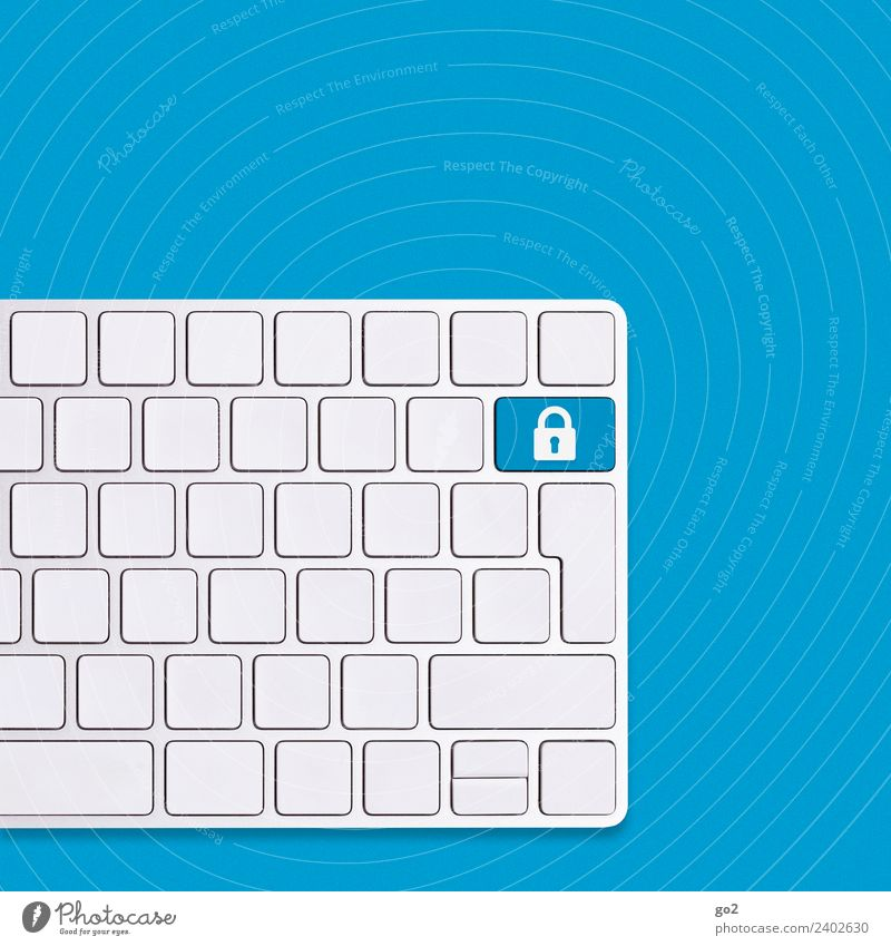 Safety First blau weiß Business Büro Kommunizieren Technik & Technologie Telekommunikation Computer Zukunft kaufen bedrohlich Zeichen Schutz Sicherheit