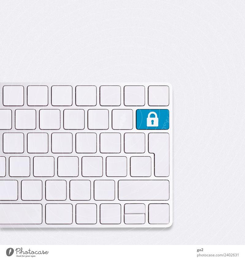 Safety First blau weiß Business Arbeit & Erwerbstätigkeit Büro Kommunizieren Technik & Technologie ästhetisch Telekommunikation Computer kaufen einfach