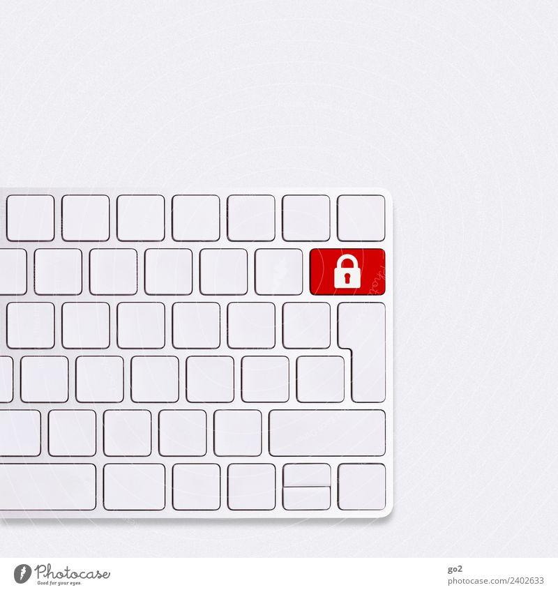 IT-Sicherheit Büroarbeit Arbeitsplatz Computer Tastatur Hardware Technik & Technologie Telekommunikation Informationstechnologie Internet Zeichen Schloss rot