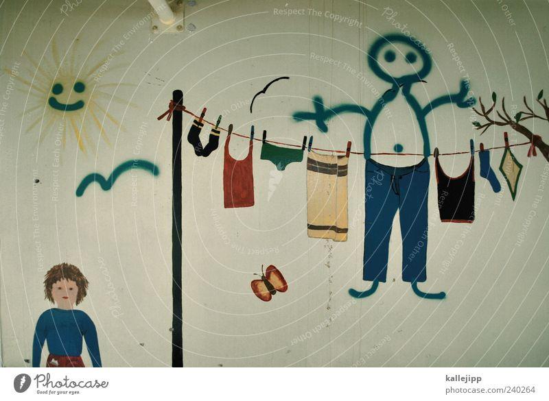 hosenmatz Sonne Wand Symbole & Metaphern hängen Wäsche trocknen gemalt Wäscheleine bemalt Seil hängend kindlich Licht