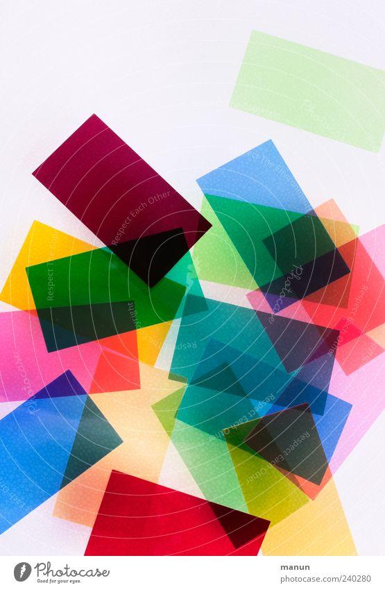 bunt I Dekoration & Verzierung Kitsch Krimskrams Kunststoff Linie Rechteck liegen eckig einfach glänzend hell modern blau gelb grün rot Design Farbe Dingsbums