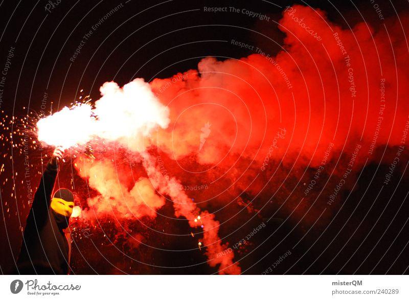 Mince Alors Les Hooligan! rot schwarz gelb Kunst Kraft ästhetisch Symbole & Metaphern Rauch Gewalt Feuerwerk brennen bizarr anonym Fan Aggression Krieg