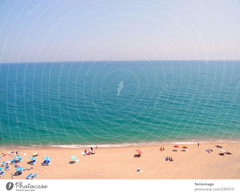 blueskywater beach Umwelt Natur Sand Wasser Himmel Wolkenloser Himmel Sommer Schönes Wetter Küste Meer Streifen Wärme blau braun gold Strand Sonnenschirm