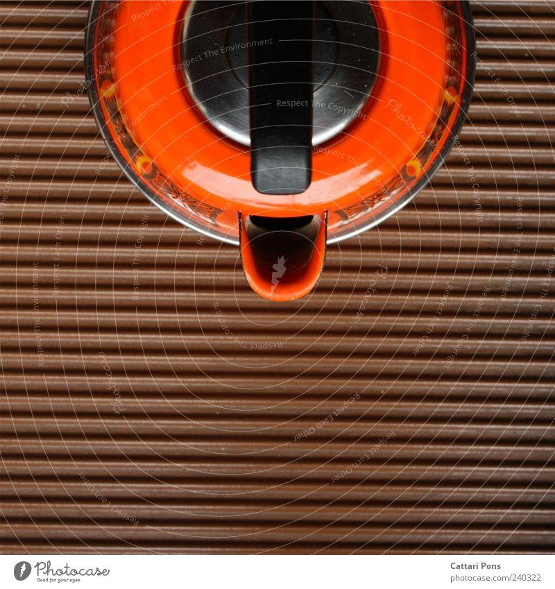 erdfarben Heißgetränk stehen braun Wasserkessel robust Küche kochen & garen Muster zeitlos orange Farbfoto Innenaufnahme Tag Vogelperspektive Textfreiraum unten