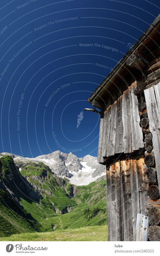 Braunarlspitze Natur Ferien & Urlaub & Reisen Sommer Haus Berge u. Gebirge Wand Holz Mauer Felsen Fassade natürlich Tourismus Alpen Schönes Wetter Gipfel