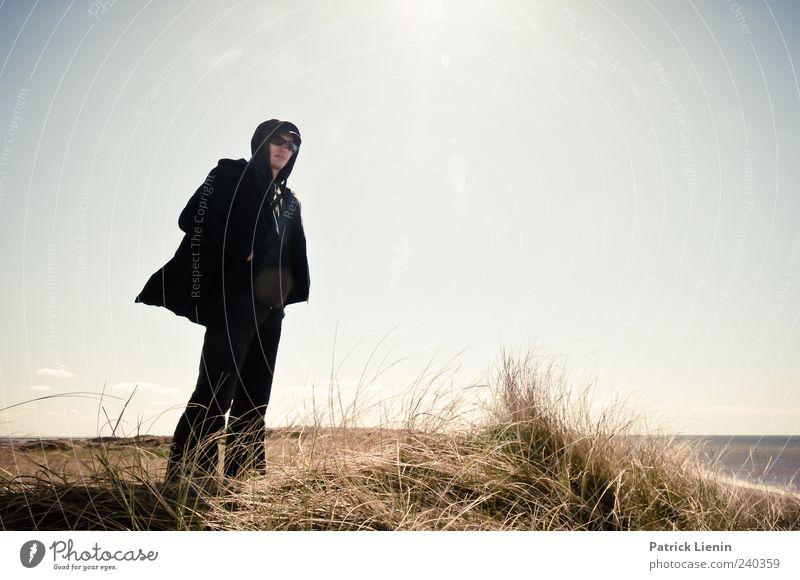 Enjoy the Silence Mensch Mann Natur Jugendliche Ferien & Urlaub & Reisen Pflanze Sonne Meer Strand Einsamkeit schwarz Erwachsene Umwelt Landschaft Horizont