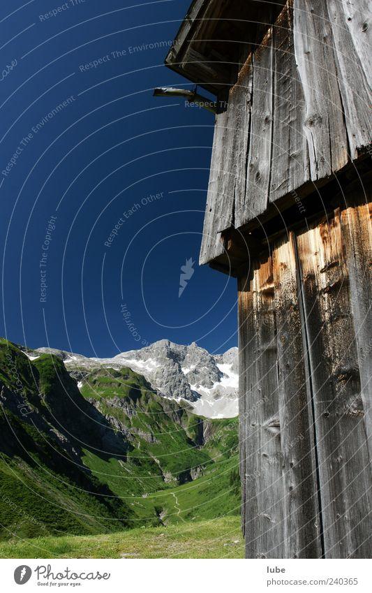 Braunarlspitze II Natur Sommer Haus Umwelt Landschaft Berge u. Gebirge Holz Felsen Alpen Schönes Wetter Gipfel Schneebedeckte Gipfel Wolkenloser Himmel